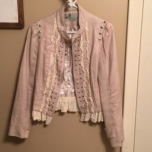 Ruffle zip and button jacket